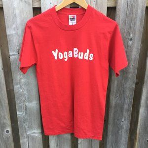 """""""Yoga Buds"""" red cotton blend tee - size S"""